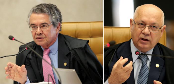 O ministro Marco Aurélio (E) é o relator do caso. Já o ministro Teori Zavascki abriu a divergência no Plenário do STF