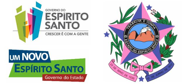 À esquerda, logomarcas de gestão; à direita, o brasão oficial do Estado do Espírito Santo